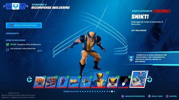 Sfida Risveglio Wolverine Fortnite