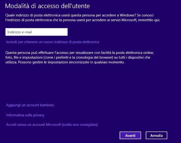 Come creare un altro account sul PC Windows 8