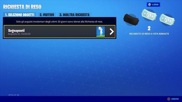 Richiesta di reso Fortnite PS4
