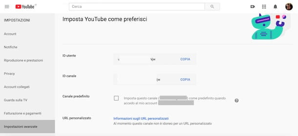 Impostare un canale YouTube come predefinito