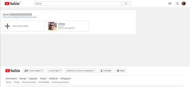 Aprire un nuovo canale YouTube