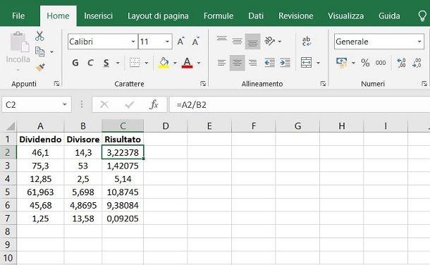 Come fare divisione con decimali su Excel