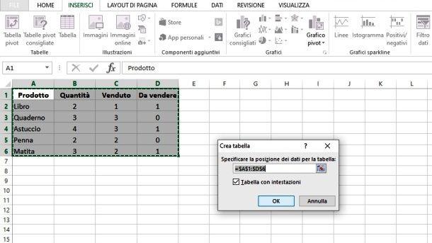 Creare una tabella con Excel