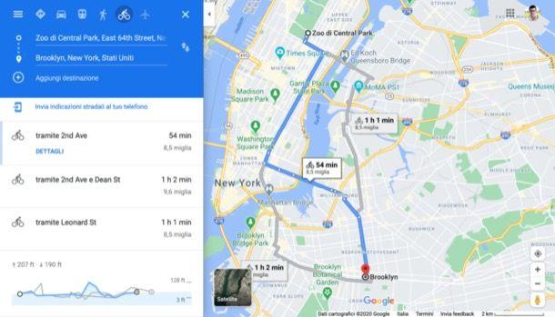 Itinerario in bici su Google Maps per computer