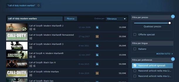 Call of Duty Modern Warfare su Steam
