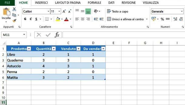 Creare tabella con Excel
