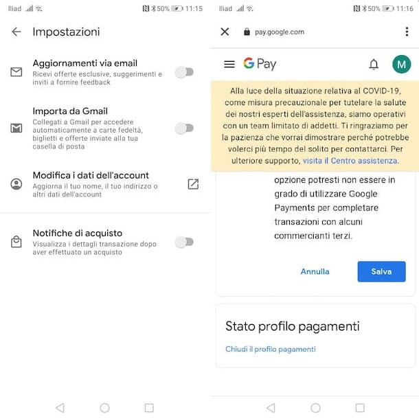 Chiudere account GPay