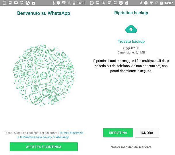 ripristinare messaggi whatsapp su android
