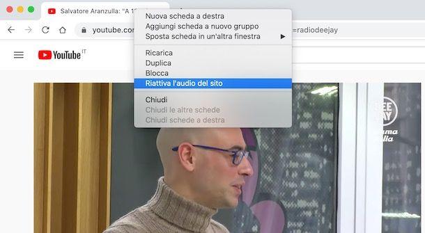 Come riattivare audio scheda browser