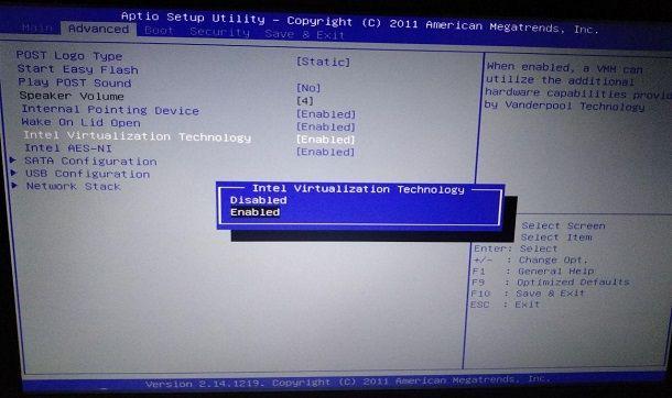 Come attivare la virtualizzazione nel BIOS