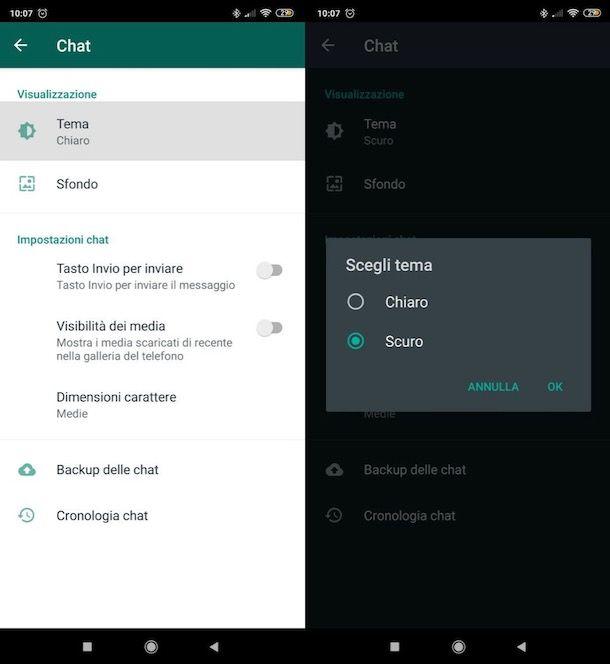 Cambiare tema WhatsApp su Android