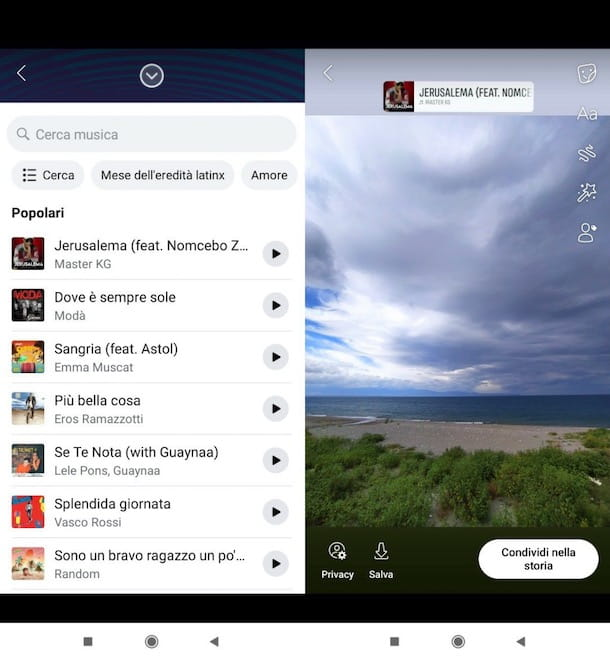Mettere musica nelle storie Facebook