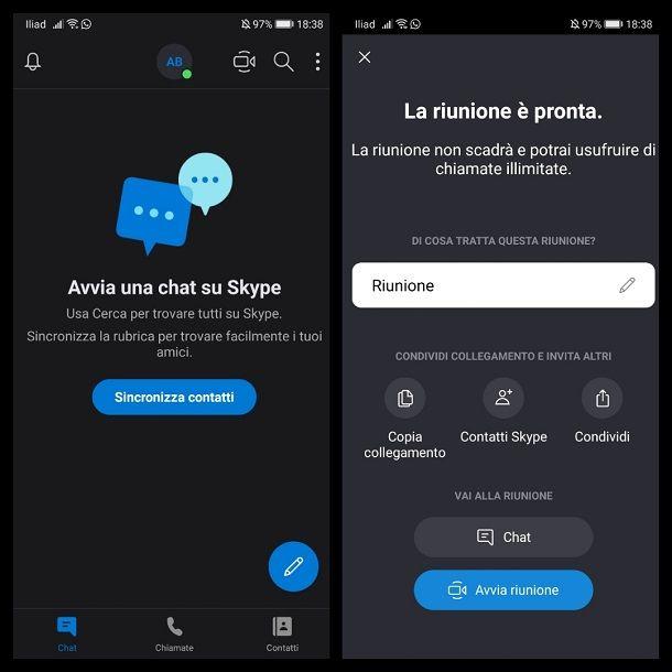 Skype per smartphone e tablet