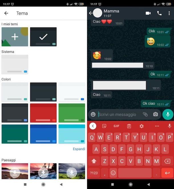 Cambiare colore tastiera WhatsApp