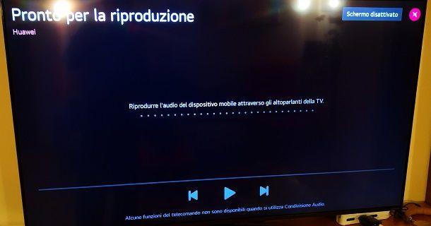 Riproduzione audio tramite Bluetooth da smartphone Android a TV