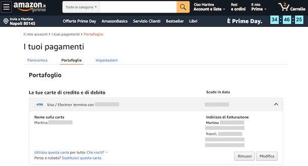 Amazon rimozione carta di credito
