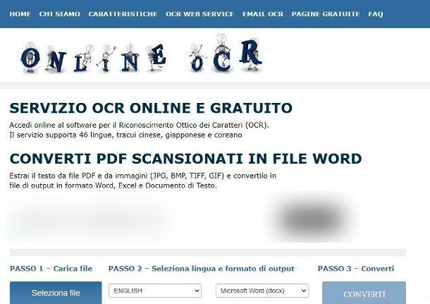 Servizi OCR online
