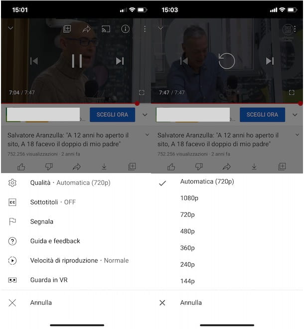 Modificare qualità video YouTube da app