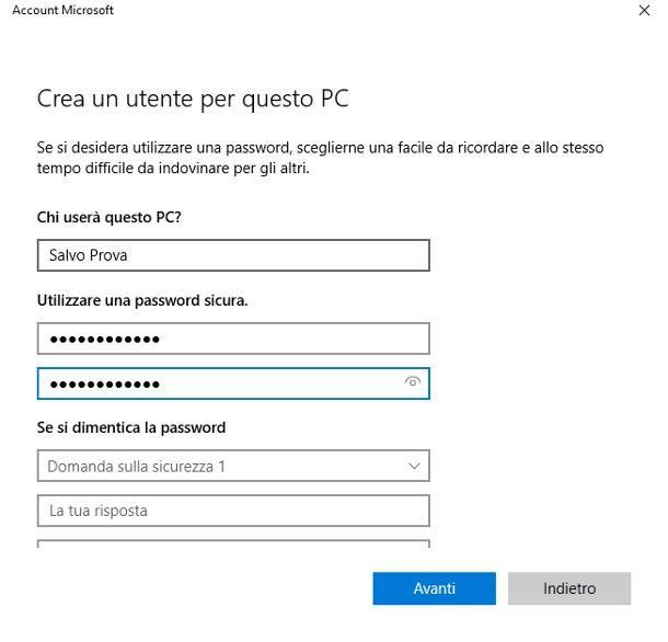 Come creare un nuovo account sul PC