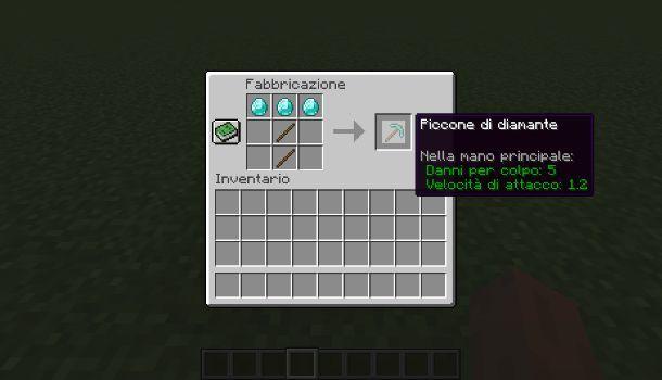 Come fare un piccone di diamante su Minecraft