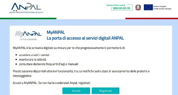 Homepage di MyANPAL