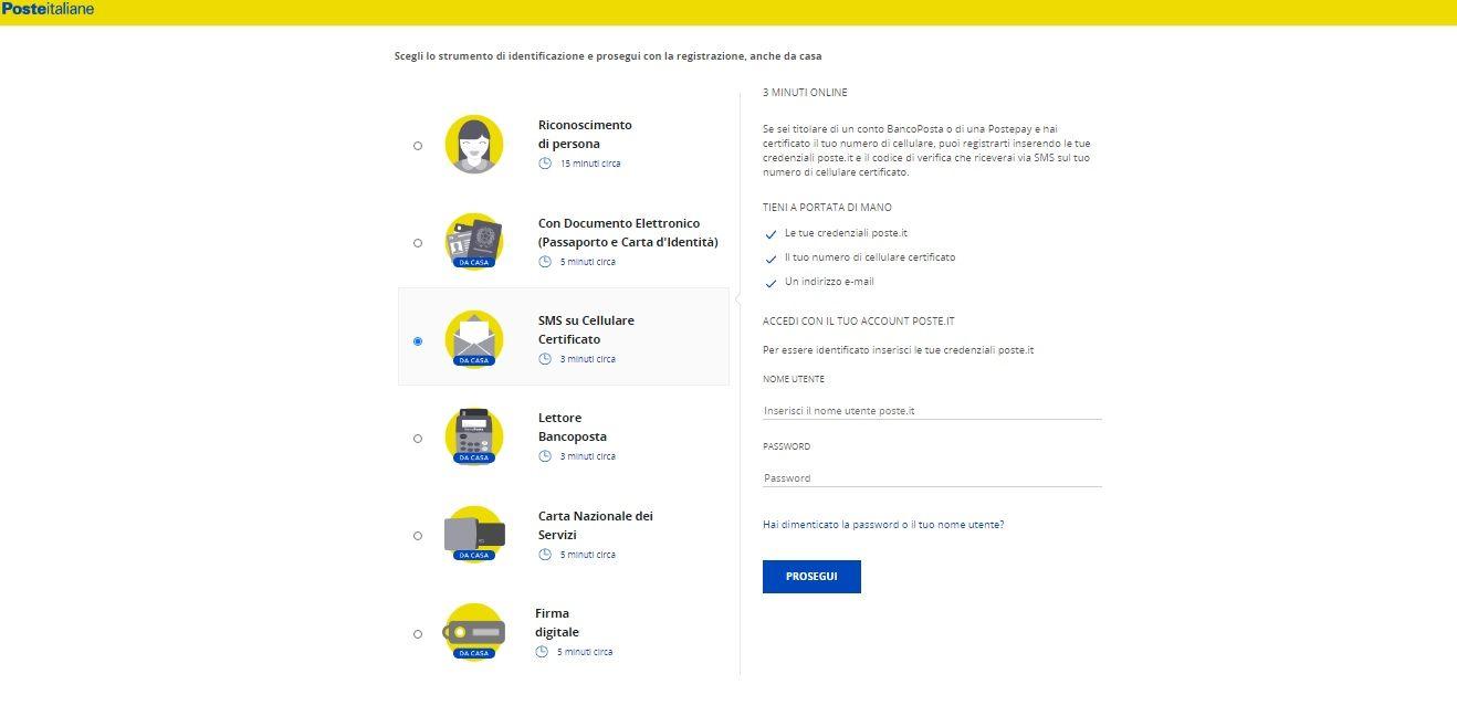 Registrarsi a PosteID tramite numero di cellulare certificato