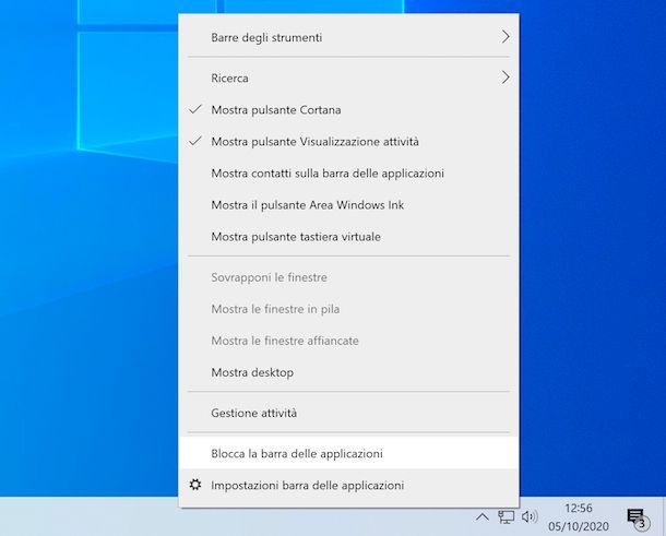 Blocco barra applicazioni Windows 10