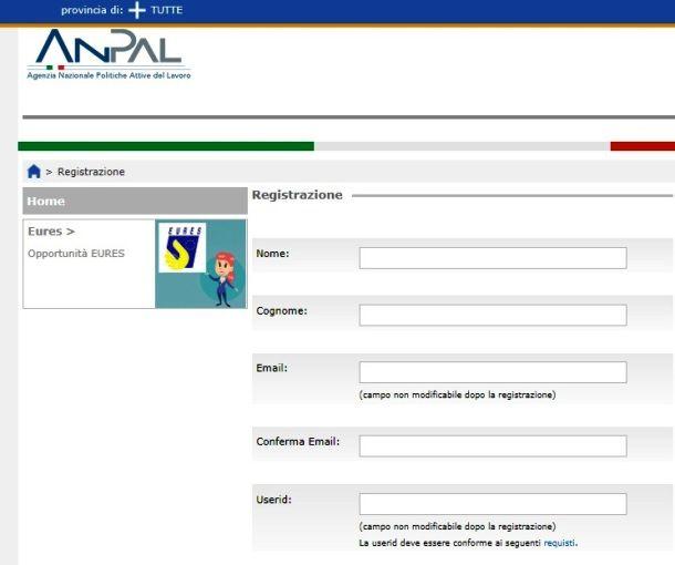 Registrazione sul sito ANPAL