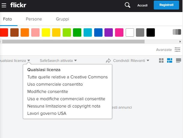 Come trovare immagini senza copyright su Flickr