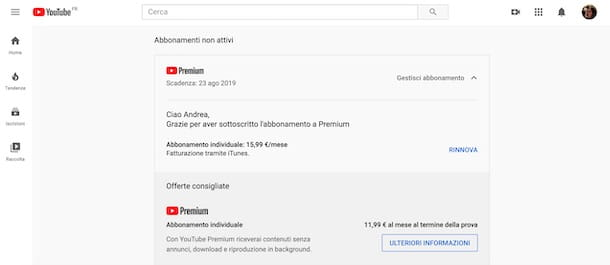 Come riattivare YouTube Premium