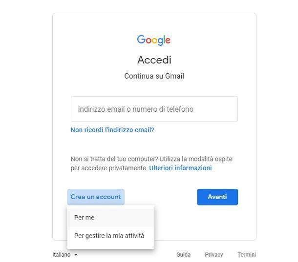 Creare account Google senza numero telefonico