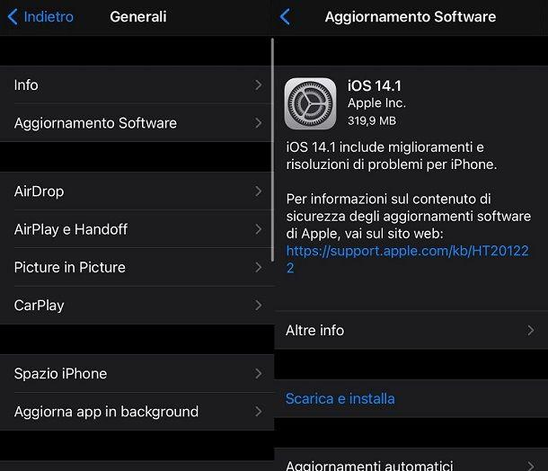 Aggiornare iPhone iOS 14