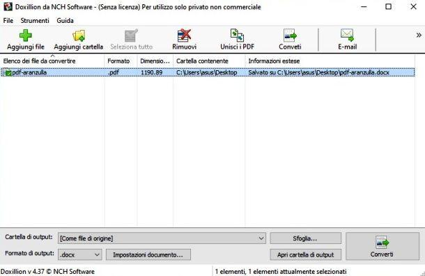 Convertire file PDF con Doxillion