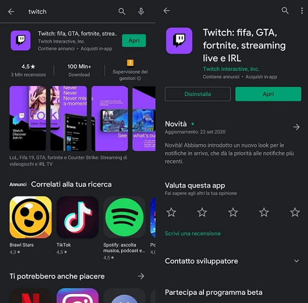 Come installare Twitch Android