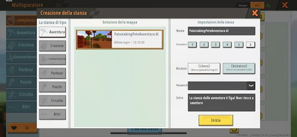 Creare una stanza di gioco su Mini World
