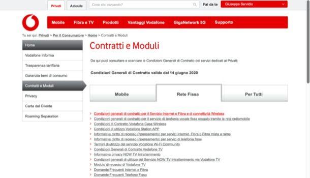 Scaricare contratto dal sito di Vodafone