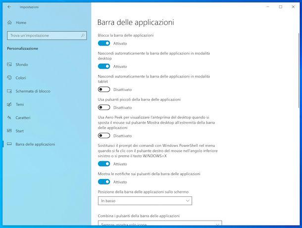 Impostazioni barra applicazioni Windows 10