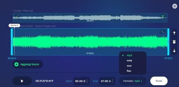 Come unire due file audio online