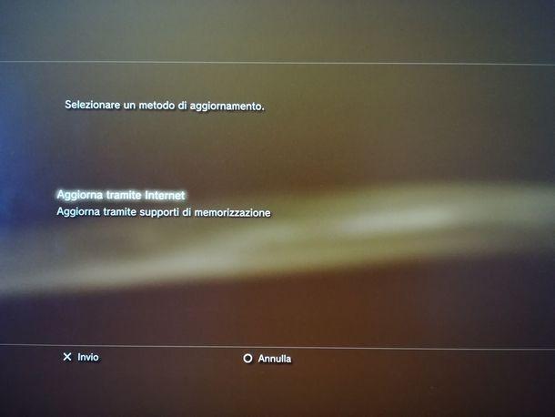 Aggiornare tramite Internet la PS3
