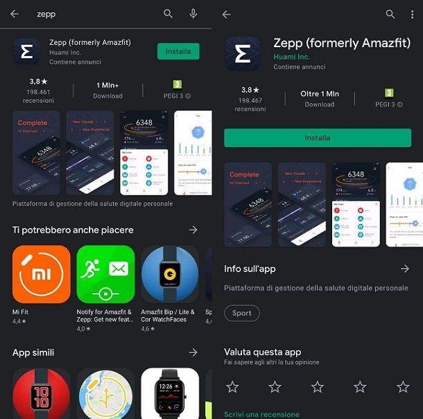 Scaricare applicazione ufficiale Amazfit Zepp