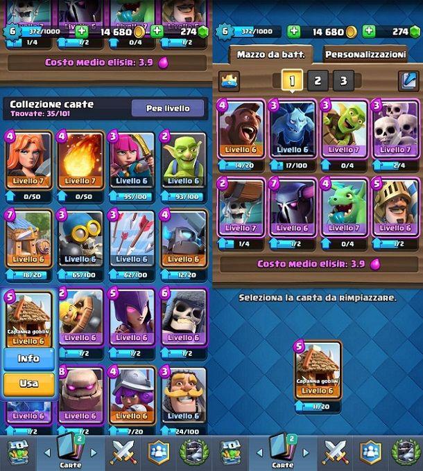 Sostituire carta deck Clash Royale