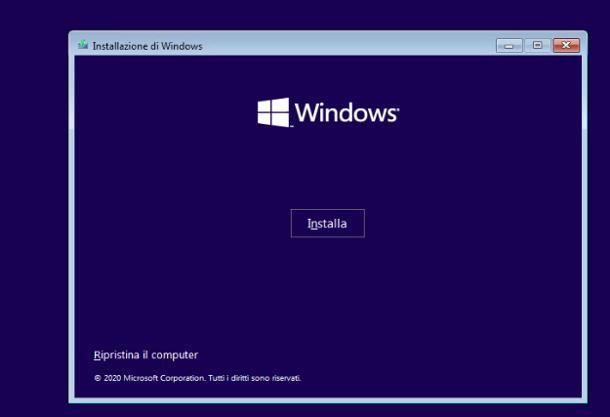 Usare una chiavetta USB del sistema operativo