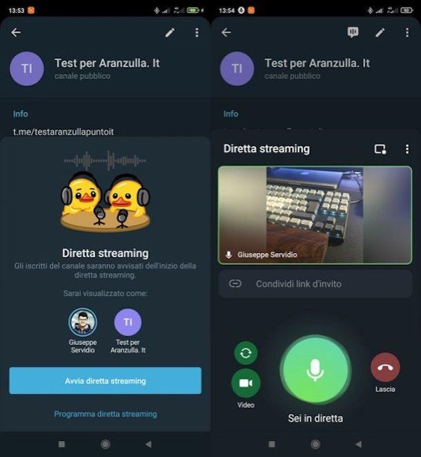 Come fare una diretta su Telegram