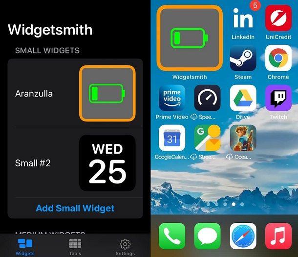 Widget personalizzato creato iOS