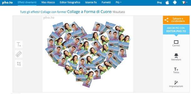 Servizi online per fare collage a cuore