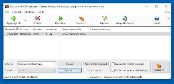 Come convertire file audio