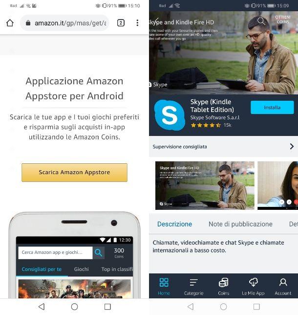 Installare Skype da Amazon Appstore