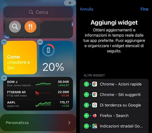 Aggiungi widget schermata Oggi iOS