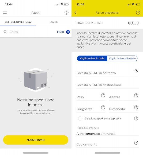Prenotare ritiro pacco da app