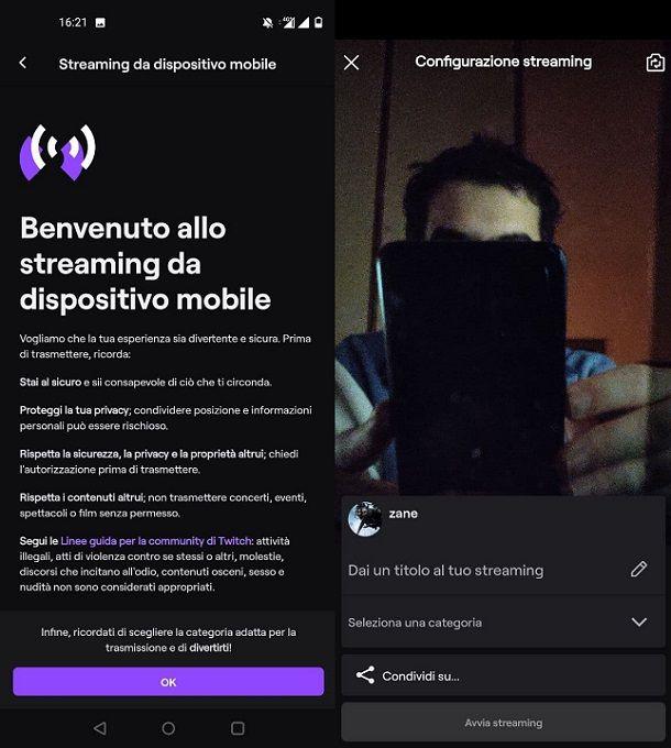 Gestire streaming Twitch